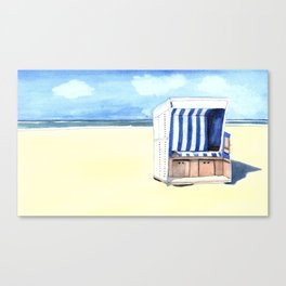 Sylt Watercolor Beach Painting Canvas Print