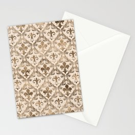 Fleur-de-lis pattern pastel gold Stationery Cards