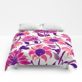Sunflower Watercolor – Pink & Purple Palette Comforters