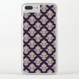 Purple Vintage Skull Pattern Clear iPhone Case