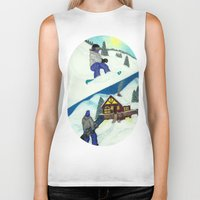 snowboarding Biker Tanks featuring Snowboarding ; Putting In Your Eight Hours by N_T_STEELART