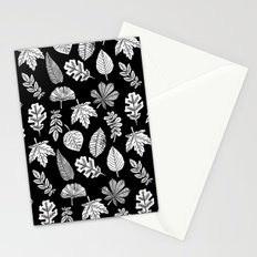 Linocut leaves fall autumn black and white home decor seasonal patterns Stationery Cards