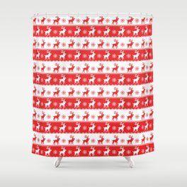 Knitted Red White Reindeer Shower Curtain