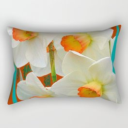 WHITE-GOLD NARCISSUS FLOWERS BLUE-BROWN Rectangular Pillow
