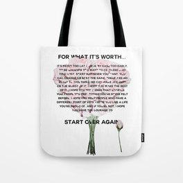 for what it's worth -  Fitzgerald life quote Tote Bag