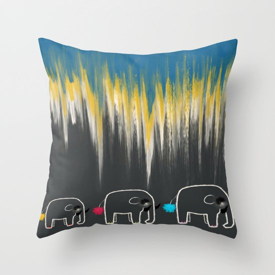 The Family Trail - Life of an Elephant Throw Pillow