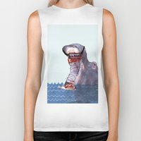 hippo Biker Tanks featuring Hippo by MGNFQ