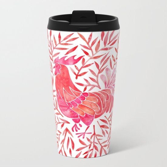 Le Coq – Watercolor Rooster with Red Leaves Metal Travel Mug