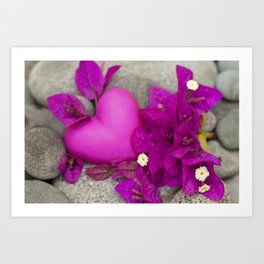 Pink Bougainvillea Flowers And Heart Art Print