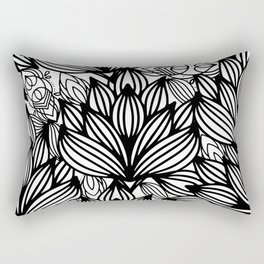 Modern hand drawn black white watercolor floral Rectangular Pillow