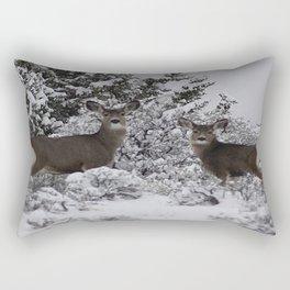 Mule Deer in the Oregon Snow Rectangular Pillow