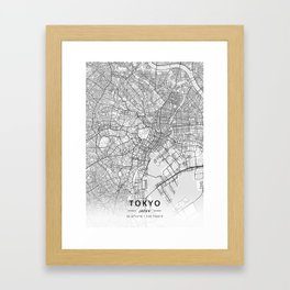 Tokyo, Japan - Light Map Framed Art Print