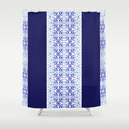 Blue Magic Pattern And Blue Stripes  Shower Curtain