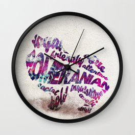 Pomeranian Dog Typography Art / Watercolor Painting Wall Clock