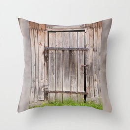 shed dilapidated cubby door Throw Pillow