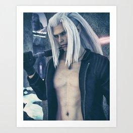 [Xedas - Vintage Filter] - Half Elf - Half Vampire - Sciense Fiction Fantasy - 3D Render Art Print