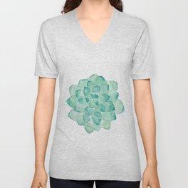 Watercolor Succulent print in seafoam green Unisex V-Neck