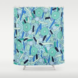 CIRCLES IN MOTION - GREEN/ BLUE Shower Curtain