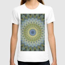 Mandala in light blue and yellow tones T-shirt