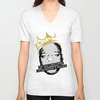 biggie V-neck T-shirts featuring Biggie by JulieAaland