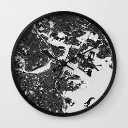 Boston – Abstract Map Wall Clock
