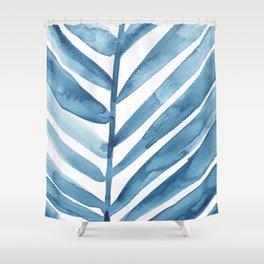 Blue Palm Leaf Crop Shower Curtain