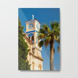 Greece - Orthodox Greek Church with Palm Tree Metal Print