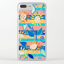 zakiaz cobalt flower stripe Clear iPhone Case