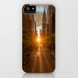 ManhattanHenge - sun setting along 42nd Street iPhone Case