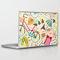 cycle Laptop & iPad Skins featuring Seaside Cycle by Anna Deegan