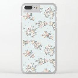 Pastel blue brown pink vintage roses polka dots pattern Clear iPhone Case