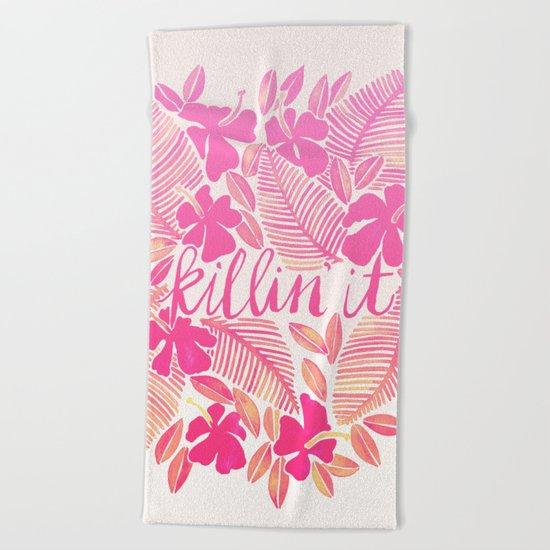 Killin' It – Pink Ombré Beach Towel