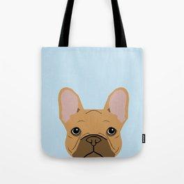 fawn frenchie dog art portrait - french bulldog art print Tote Bag