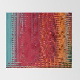 Warm red & turquoise Floor Pattern Art Throw Blanket
