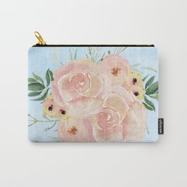 Wild Roses on Sky Blue Watercolor Carry-All Pouch