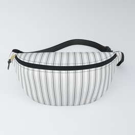 Mattress Ticking Narrow Striped Pattern in Charcoal Grey and White Fanny Pack