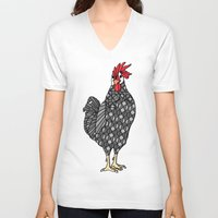 gray pattern V-neck T-shirts featuring Gray Chicken by ArtLovePassion