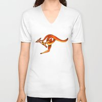 kangaroo V-neck T-shirts featuring Kangaroo by Knot Your World