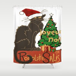 Joyeux Noel Le Chat Noir With Tree And Gifts Shower Curtain