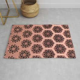 Black and Rose Gold Honeycomb Illusion Graphic Design Pattern Rug