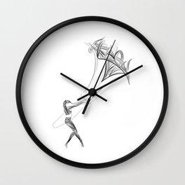 Poster kitesurfer - kiteboarding - fine lines - surf - woman - waves Wall Clock