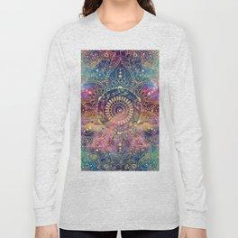 Gold watercolor and nebula mandala Long Sleeve T-shirt
