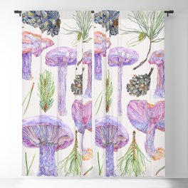 Wood Blewits and Pine - Botanical Blackout Curtain