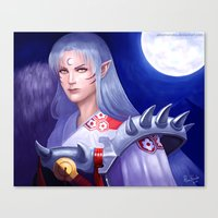 inuyasha Canvas Prints featuring Sesshomaru by AlineMendesArt