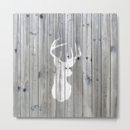 Hipster vintage white deer head on gray wood Metal Print