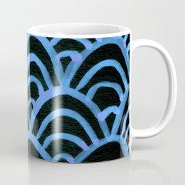 Handpainted Scallops Mermaid Scales Black and Blue Coffee Mug