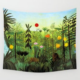 """Henri Rousseau """"Exotic Landscape with Lion and Lioness in Africa"""", 1903-1910 Wall Tapestry"""