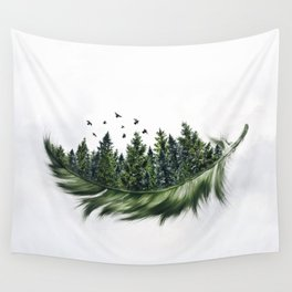 Earth Feather • Green Feather (horizontal) Wall Tapestry