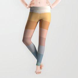 Pastel Retro Rainbow Stripes  Leggings