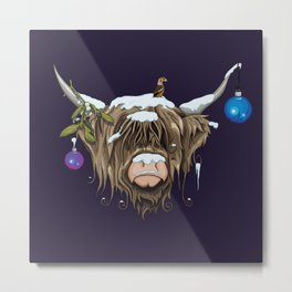 Christmas Highland Cow Metal Print
